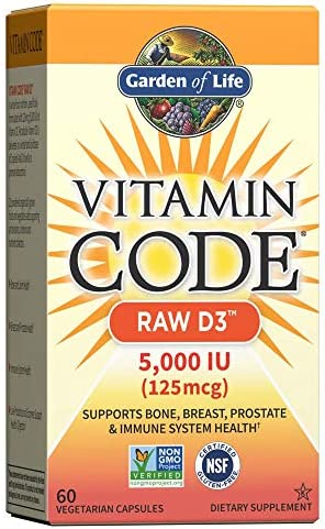 Garden of Life Vitamin D, Vitamin Code Raw D3, Vitamin D 5,000 IU, Raw Whole Food Vitamin D Supplements with Chlorella, Fruit, Veggies & Probiotics for Bone & Immune Health, 60 Vegetarian Capsules