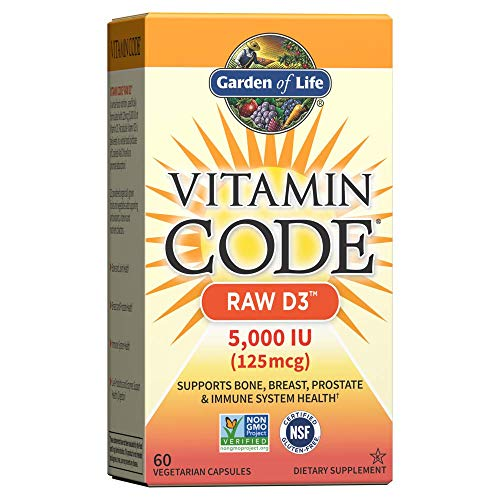 Garden of Life Vitamin D, Vitamin Code Raw D3, Vitamin D 5,000 IU, Raw Whole Food Vitamin D Supplements with Chlorella…