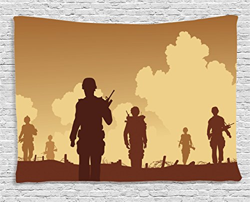[War Home Decor Tapestry by Ambesonne, Soldier Shadows with Military Costumes and Weapons Walking on Patrol Print, Wall Hanging for Bedroom Living Room Dorm, 60WX40L Inches, Brown] (Military Costumes For Teens)