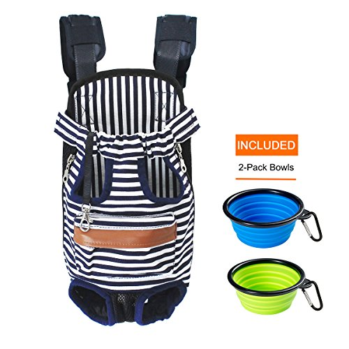 Canvas Blue+White stripes Legs Out Front Pet Dog Carrier Front Chest Backpack Pet Cat Puppy Tote Holder Bag Sling Outdoor Rucksack,Included 2-Pack Collapsible Travel feeding Bowls (Pet Packs Puppy)