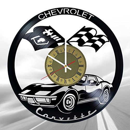 Automobile Chevrolet vinyl wall clock - handmade unique artwork home bedroom living kids room nursery wall decor great gifts idea for birthday, wedding, anniversary - customize your (Gold/White)