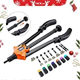 "【Christmas Selection】14"" Upgraded Pumping Rod Rivet Nut Tool, Hand Riveter with Patented Pumping Rod Design, 7Pcs Metric & Inch Mandrels, 35Pcs Rivet Nut 