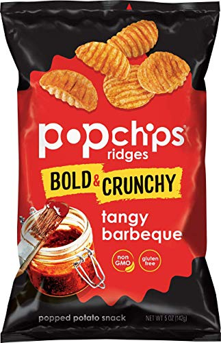 Popchips Ridged Potato Chips, Tangy BBQ Potato Chips, 12 Count (5 oz. Bags), Gluten Free, Low Fat, No Artificial Flavoring, Kosher