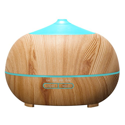 Tenswall 400ml Cool Mist Humidifier, Ultrasonic Aromatherapy Essential Oil Diffuser - Whisper Quiet Operation -7 Changing LED Lights & Auto Shut-Off - 4 Timer Settings - Yellow Wood Grain Color