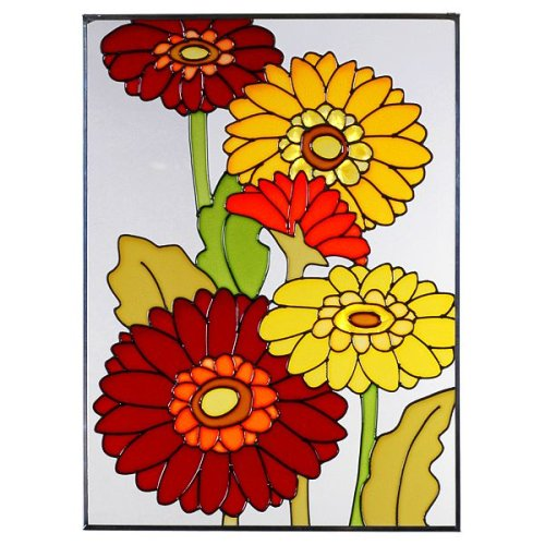 Daisies Gerbera Vertical Art Glass Panel - stained glass decor
