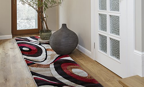 "Home Dynamix Tribeca Slade Area Rug | Contemporary Living Room Rug | Bold Abstract Design | Warm-Inviting Feel | Brown, Red 26"" x 20' Runner"