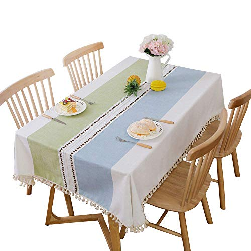 DegGod Cotton Linen Rectangle Tablecloth with Tassel, Modern Stitching Fringe Heavy Weight Dust-Proof Table Cloth Cover for Kitchen Dining Tabletop Decoration (Blue Green Fringe, Oblong, 55x86 inches)