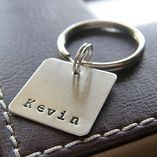 Sterling Keychain (Personalized Key Chain - Custom Hand Stamped Sterling Silver Keychain with Square Charm and Name)