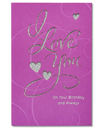 American Greetings Romantic Birthday Card with Glitter