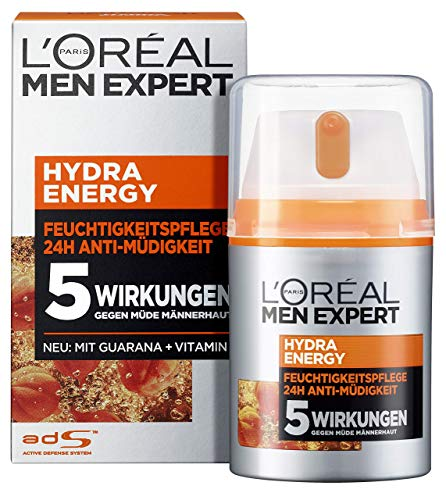 L'Oréal Men Expert Hydra Energy Feuchtigkeitspflege, Gesichtscreme mit Guarana und Vitamin C ist die ideale Tages- und Nachtcreme, optimaler Anti-Müdigkeits-Effekt