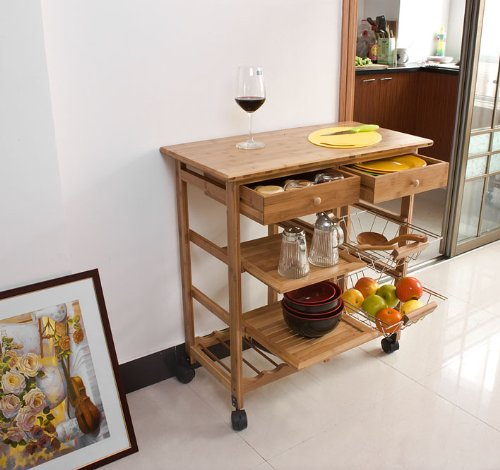 Haotian FKW06-N, Kitchen Storage Cart with Shelves & Drawers,Hostess Trolley,Kitchen Island,L 28.3 x W 14.5 x H 29.7inch,Bamboo