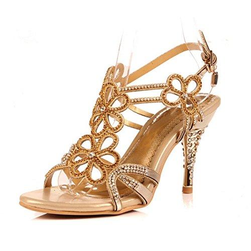 Meijia - Zapatos de tacón  mujer dorado
