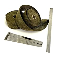 Titanium LAVA High Temperature Header Exhaust Pipe Insulation Wrap Kit: 2 Rolls LAVA EACH 2 INCH WIDE X 25 FEET LONG with Stainless Steel Zip Ties Kit EXTREME high temperature wrap up to 3000°F- Thermal Zero - LV116225TKX2
