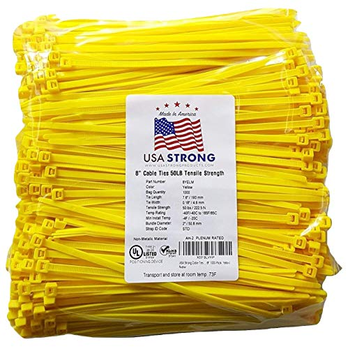 Cable Ties. Standard Duty 7.6 Inch Premium Nylon Wire Management Zip-Ties. 50 LB Tensile Strength USA Strong Cable Ties (1000 Pack, Yellow)