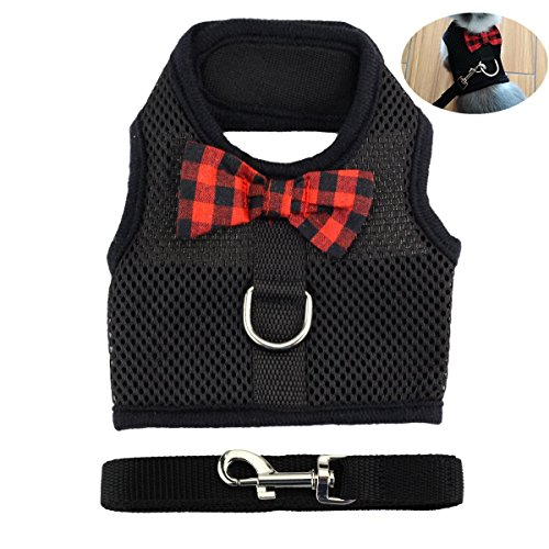 (Rabbit Bunny Kitten Harness No Pull Cat Leash Stylish Vest Harness for Small Animal Adjustable Soft Breathable Walking Harness Set (BLACK,)