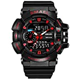 Bounabay Sports Digital Outdoor Watches for Men Military PU Watch Band LED Electronic Wristwatch 50M Water Resistant,Red