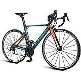 YwnSHOPPING دراجة طريق 22 سرعة، إطار من الألومنيوم خفيف الوزن، مقود فرامل مزدوجة منحنية، برتقالي أزرق/أبيض أخضر (اللون…