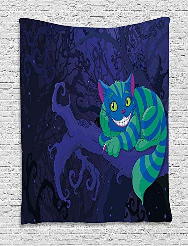 Alice in Wonderland Tapestry Wall Hanging, Chester Cat Sitting on Branch in Fairy Forest Character Alice Wall Art Tapestries for Home Bedroom Living Room Dorm Decor, Green Blue Purple
