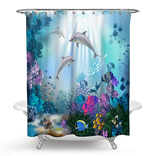 QCWN Dolphin Shower Curtain,Blue Ocean Animal Underwater Fish Coral Reef Décor Shower Curtain Set with Hooks for Bathroom Décor.Multi 59x70Inch