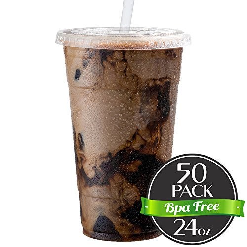 Cold Smoothie Go Cups and Lids | Iced Coffee Cups | Plastic Cups with Lids | 24 oz Cups, 50 Pack | Clear Disposable Pet Cups | Ideal for Bubble Tea Juice Soda Cocktail Party Cups [Drinket Collection] (Travel Plastic Lid)