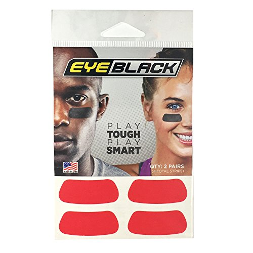 Red Football Baseball Softball Eye Black Strips, 2 Pairs -