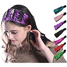 simsimy Sequin Headband Pack1 Glitter Headbands Colors - Elastic Stretch Sparkly Fashion Headband for Teens Girls Women Reversible Color Changing Hair Accessory Great Gift Idea