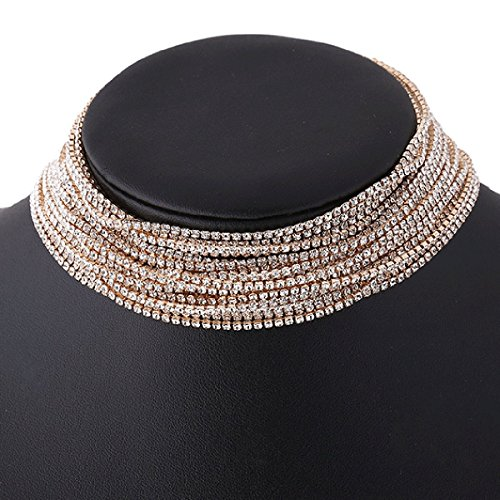 Glamaker Women's Wide Diamond Neck Rhinestone Choker Necklace (Neck Rhinestone)