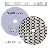CHANGE MOORE Dry Diamond Polishing Pads 5'' for Marble Granite Travertine Terrazzo Concrete Stones, 2 pack-White Buff