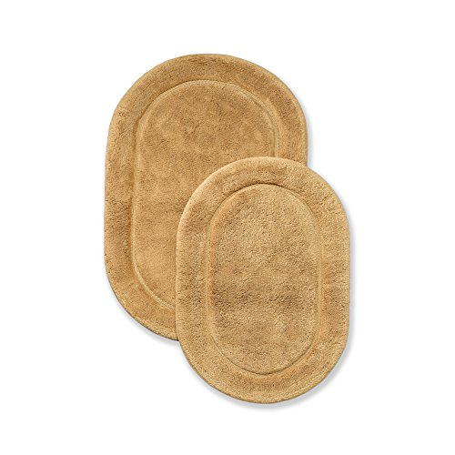 Superior Non-Slip Bath Rug 2-Pack, Ultra Plush, Soft, and Absorbent 100% Combed Cotton Pile - Traditional Oval Bath Mat Set, Toast