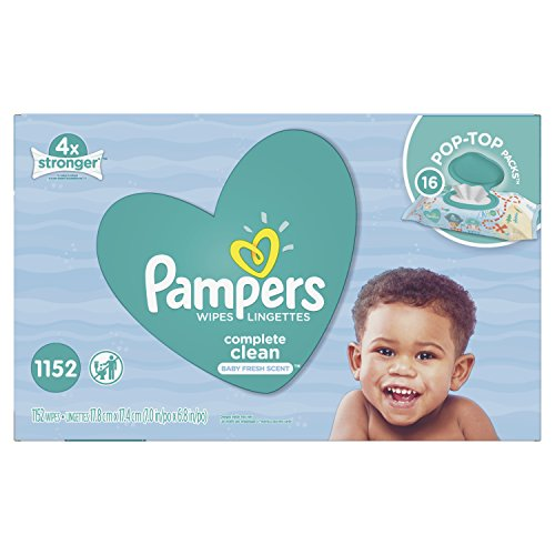 Pampers Baby Wipes Complete Clean SCENTED 16X Pop-Top, Hypoallergenic and Dermatologist-Tested, 1152 Count