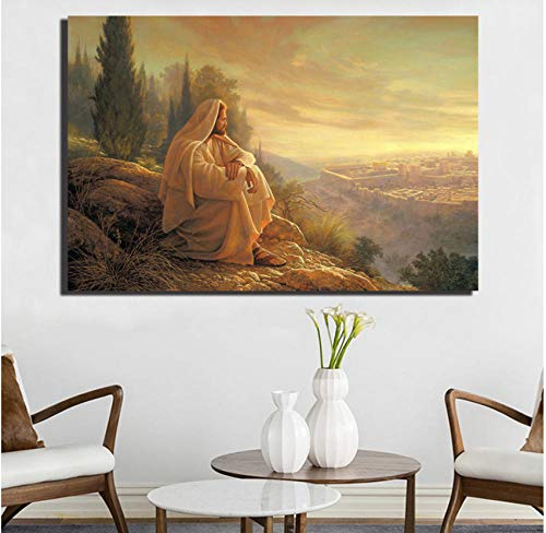 xtszlfj Jerusalem Art Greg Olsen Sat Quietly Canvas Prints Picture Modular Paintings for Living Room Poster On The Wall Home Decor 70x100cm No Frame
