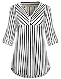 Miusey Stripe Shirt for Women,Ladies Casual Rolled Sleeve Flowy Autumn Trapeze Tops Pleated Loose Fit Tunic with Legging Polos Daily Home Wear Clothing White L