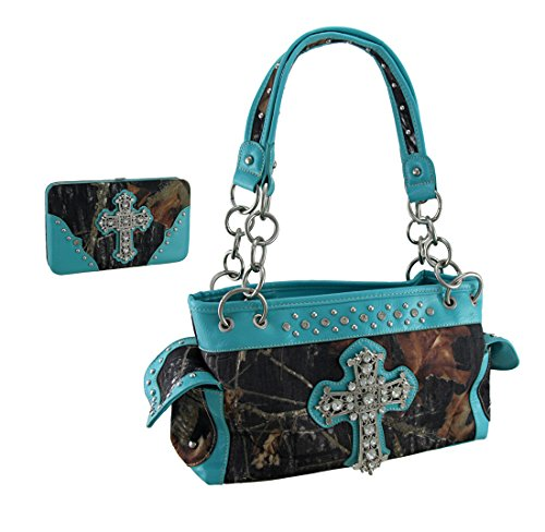 Deep Forest Camouflage Rhinestone Cross Purse / Wallet Set Turquoise Blue Trim (Rhinestone Purse And Wallet Set)