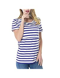 HTHJSCO Women Maternity Striped Nursing Short Sleeve T Shirts Casual Pregnant Multifunctional Breastfeeding Tops Blouse