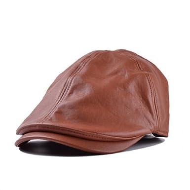 81dfe4ea8fb9b Hombres de piel gorro Newsboy boina Golf sombrero Caballero Taxi Cap Marrón  marrón  Amazon.es  Ropa y accesorios