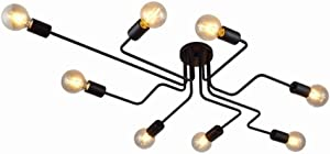 Industrial Edison 8 Lights Semi Flush Ceiling Light Vintage Wrought Iron Large Black Chandelier Ceiling Lamp
