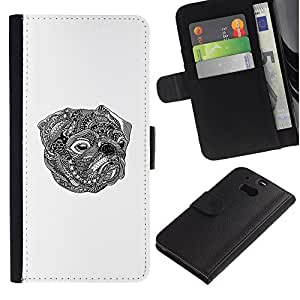 ARTCO Cases - HTC One M8 - Cute Tribal Tattoo Pug Dog Totem - Slim PU Leather Wallet Credit Card Case Cover Shell Armor