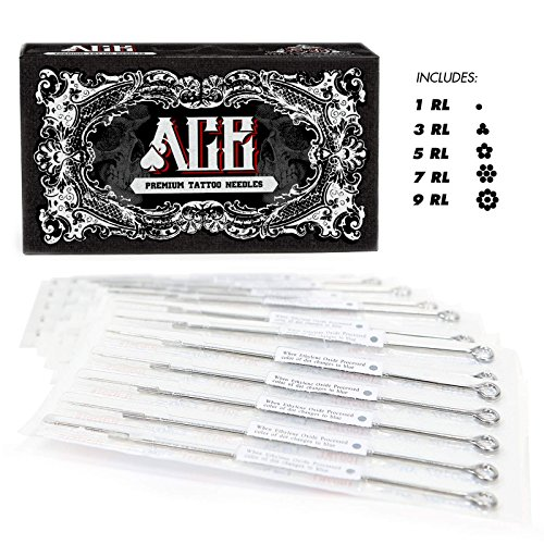 ACE Needles 50 Mixed Assorted Tattoo Needles 6 Sizes - Round Liner 1 3 5 7 9 11 RL - 50 Piece Round Liners