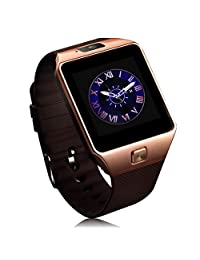 Bluetooth Smart Watch with SIM Card Slot Make Phone Calls 2.0MP Camera Support Message Notification 8G TF Card Compatible with Android and IOS System (golden)