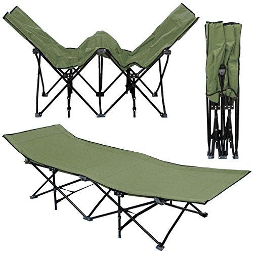 AMANKA Faltlbett Faltliege Feldbett Grün | Camping-Metall-Klappiege ca. 190x70cm | 10-Bein Liege Klappbett | Stahlgestell