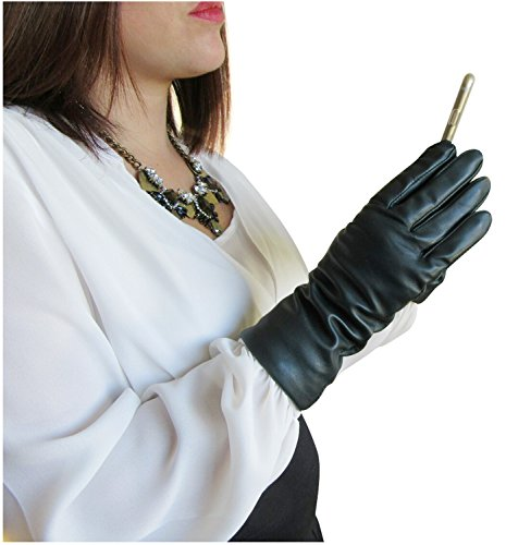 Fownes Women's Cashmere Lined Smart Navy Lambskin Leather Gloves 7.5/L (Lady In The Navy Gloves)