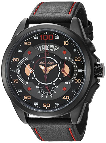 Adee Kaye Men's 'WHIRLLING COLLECTION' Quartz Stainless Steel and Leather Sport Watch, Color:Red (Model: AKD8900-MIP/LBK-RD)