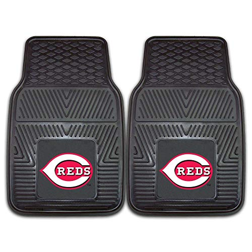2 Piece MLB Reds Car Mats, Baseball Themed Sports Floor Mats for Cars Trucks SUVs RVs Van Truck Carpet Rugs Universal Size Fit Team Logo Fan Gift, Heavy Duty Durable Vinyl, Black, 17