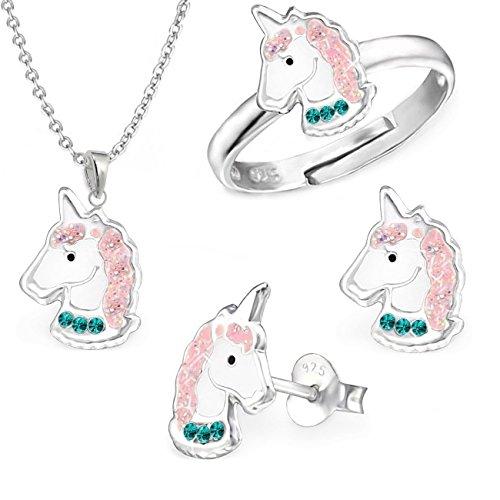 gh1a Cristal Esmeralda Unicornio Juego Ring + Colgante + Collar + Pendientes Plata 925