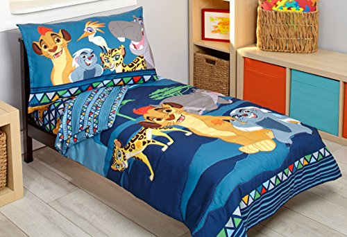 Disney Lion Guard Wild Team 4 Piece Toddler Bedding Set, Blue/Gray/Tan