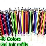 lzndeal 48pcs/insieme forniture scolastiche cancelleria Gel Inchiostro Ricariche penna Neon Glitter Schizzi disegno pennarelli