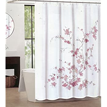 pink grey shower curtain. Tahari Home Printemps Salmon  Pink and Grey Floral Branch Fabric Shower Curtain Amazon com