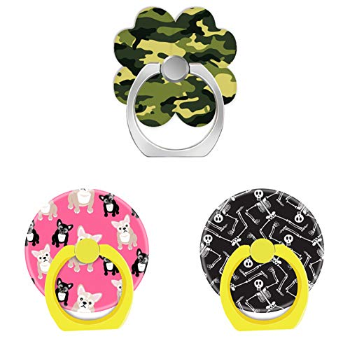 Bsxeos 360°Rotation Cell Phone Ring Holder with Car Mount Work for All Smartphones and Tablets-Cute Pink frenchies French Bulldogs-Funny Halloween Skeletons Skull-Green Camouflage(3 -