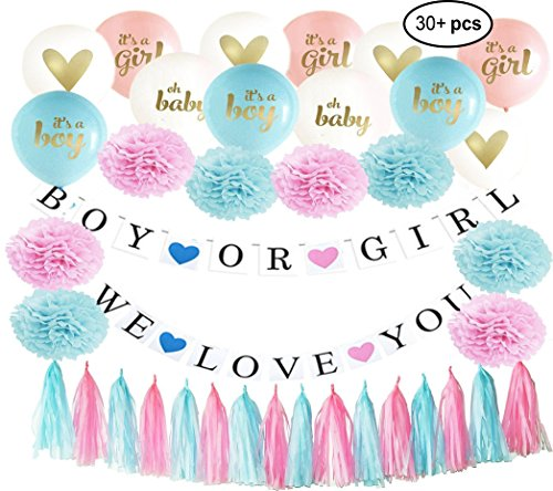 Gender Reveal Party Decorations with Large Pink, Blue, White Balloons | Blue and Pink Pom Poms | Blue and Pink Tassels | 2 Large Banners Decorations Perfect for any Gender Reveal or Baby Shower