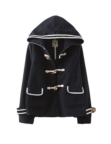 Viento azul marino clásico con capucha chaqueta mujer